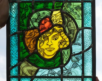 Medusa, hand-painted stained glass, leaded glass, sun-catcher, window decoration, art glass, sun catcher, snakes, mythological, fantasy