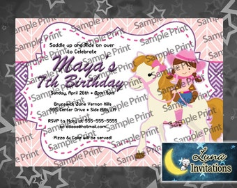 Cowgirl with Horse Birthday Invitation