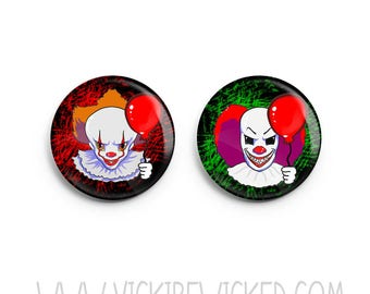 Pennywise Clown Pinback Button, Horror Button, Creepy Clown Pin