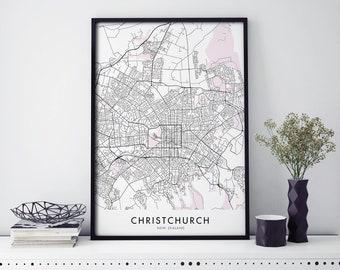 Christchurch, New Zealand City Map Print Wall Art Poster   A4 A3 A2