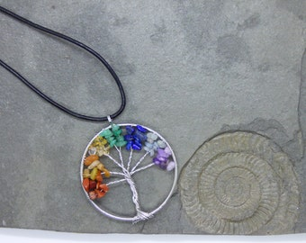 Tree Of Life Chakra Reiki Gemstone Pendant Necklace on a Leather Princess Necklace with lobster clasp