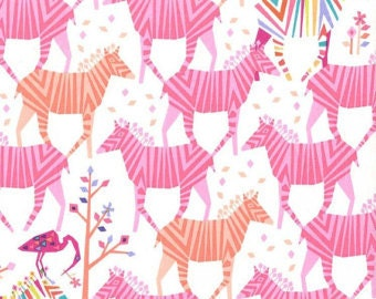 """By The HALF YARD - Origami Oasis by Kate Tamara for Michael Miller, Pattern #DC6398 Show Your Colors in Candy, Zebra is 3"""""""