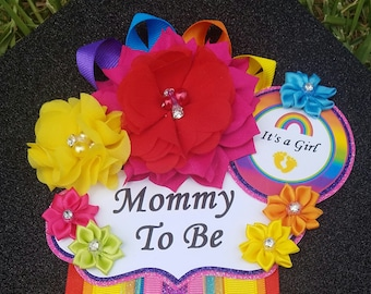 Rainbow Baby Girl Themed Mommy To Be Baby Shower Corsage