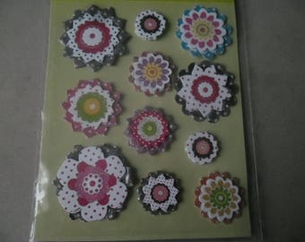 x 11 mixed stickers stickers 3D glittery multicolor flowers
