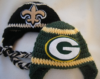 Crocheted Packers Inspired (Choose your team)  Football Helmet Baby Beanie/hat - Made to Order - Handmade by Me