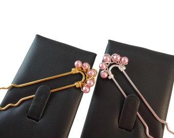 Pastel Pink Pearl Hair Pin Silver or Gold, Long Hair Pins Bridal Updo Hair Accessories Pink, Swarovski Pearl Bridal Hair Pin Pink and Gold