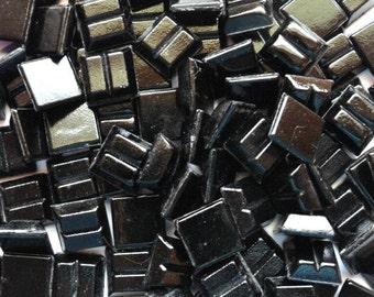 """100 10mm Black Mini Vitreous Glass Tiles 3/8""""/ Black Glass Tiles/Black Mosaic Tiles/Vitreous Tiles/ Black Mini Tiles/Mini Mosaic Tiles"""