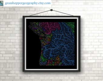 River basins of the Pacific Northwest in rainbow colours (high resolution digital print) map print, wall art, poster map, home decor, gift