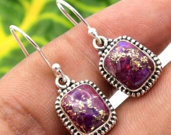 "Purple Mohave Copper Turquoise Earrings-925 Sterling Silver Handmade Gemstone Earrings length 1.5""-ae1114"