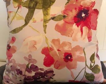 Romantic Pink Floral Throw Pillow decorative pillows pink floral pillows floral pillows floral print pillows