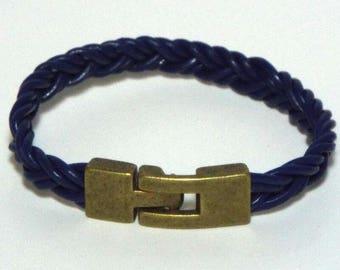 Blue Braided Leather Wristband