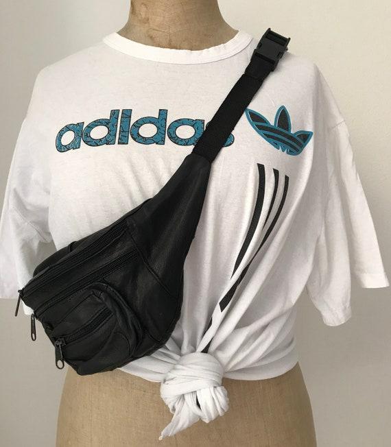 Vintage fanny pack   seventies shoulder bag   vintage belt bag   black leather fanny pack   seventies fanny pack   crossover bag