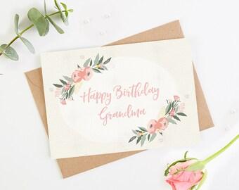 Grandma Birthday Card Floral Botanical