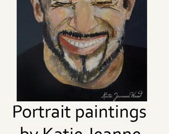 Bald Man Portrait Art Original Acrylic Painting. Portrait Painting. Living Room Wall Art Decor.