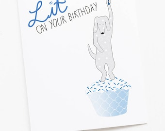 Dog Birthday Candle Lit Greeting Card