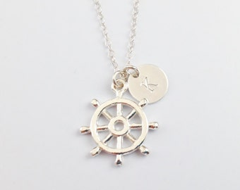 Personalized Ship Wheel Necklace - Sterling Silver Layering Necklace - Initial Disc Necklace- Nautical Jewelry