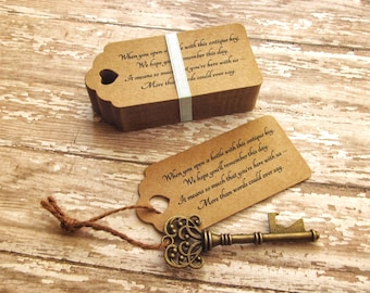 """Skeleton Key BOTTLE OPENERS + """"Poem"""" Thank-You Tags – Wedding Favors set of 200 - Ships from United States - Antique Bronze"""