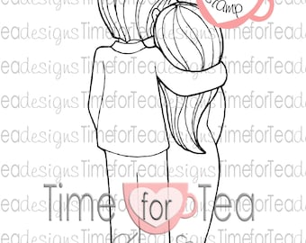 Hugging Couple Digital Stamp