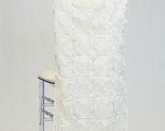 Ivory Satin Ribbon Rosette Chiavari Chair Cover