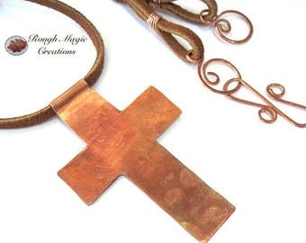 Christian Necklace, Rustic Cross Copper Pendant, Leather Cord, Inspirational Jewelry for Men Women Couples, Easter Gift, 7th Anniversary