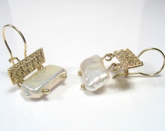 When Pearls Meet Filigree... - gold and pearl earrings