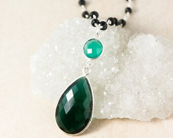 Green Onyx & Green Teal Quartz Layering Necklace - Black Spinel Beads - Silver