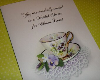 Personalized Lavender Pansy Tea Invitations Thank You Cards Note Cards for Birthday Bridal Shower Wedding Anniversary Party