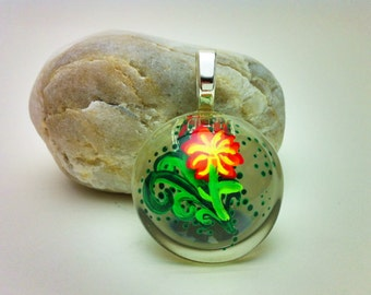 Hand painted resin pendant - flower and ferns with sterling silver bail