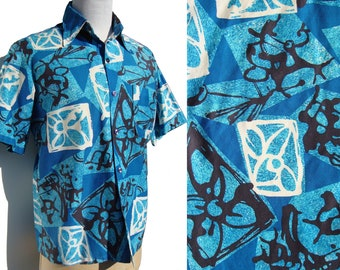 Vintage Modernist Aloha Shirt Mens Abstract Hawaiian Cotton Shirt L