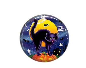 Round cabochon resin 25mm 02 black cat