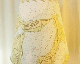 Map Lamp Shade, Long Island NY, West Harbor Oak Neck NOAA Chart, Nautical Decor MapShade, Boating Chart Lampshade, Beach Decor, Custom Shade