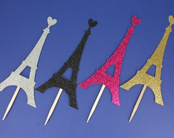 Set of 8, 24 or 48 French Eiffel Towers with Heart Cupcake Toppers