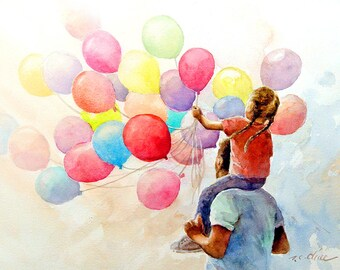 Art Print of  Watercolor painting - Father and Daughter holding Balloons