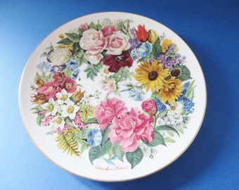 German vintage floral collectible plate, Grand Finale 89
