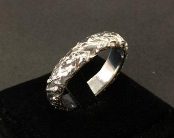 StoneBand - Handmade Ring, Organic Solid Silver band (One Ring)