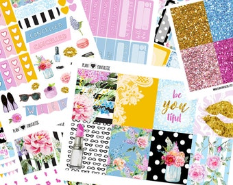 Spring Glam Planner Sticker Kit -  Weekly Planner Sticker Set - for use with Erin Condren Life Planner™ - Summer