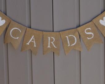 Cards Burlap Banner, Cards Wedding Sign, Cards Table Sign, Burlap Bunting, Burlap Garland, Rustic Wedding, Barn Wedding, Cards & Gifts Sign