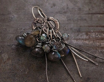 raw silver and labradorite earrings • cluster earrings • oxidized silver • Gift for her Birthady Gift for wife
