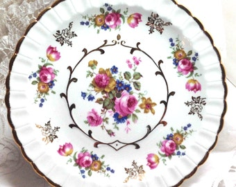 Plate Ironstone Wood & Sons England with HOLE Drilled in the Center Pink Floral Flowers - Vintage Romantic Retro Victorian - 8.61 Ship to US