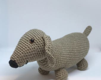 Sausage Dog Trevor - Handmade Crochet Soft toy - MADE TO ORDER
