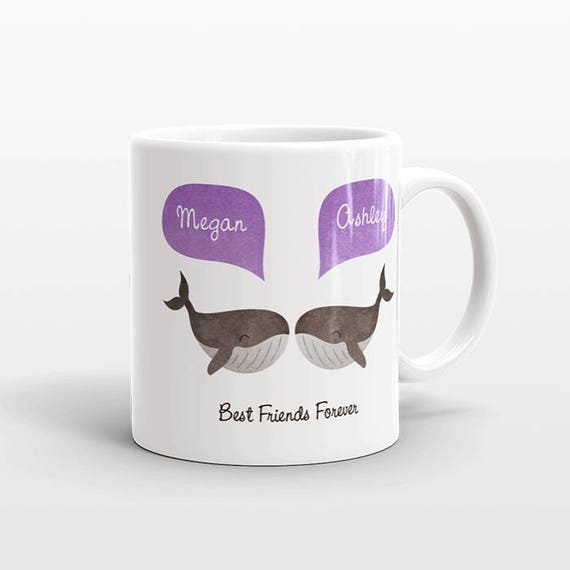 Best Friend Gift, Whale Mug, Personalized Best Friend Mug, Animal Best Friend Coffee Mug, Unique Friendship Gift Best Friend Birthday Gift