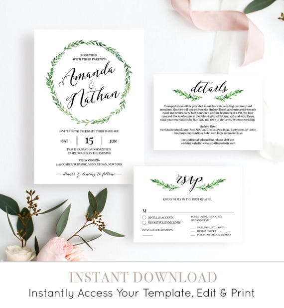 Wedding Invitation Suite, Printable Invite, RSVP & Details Card, DIY Wedding, Fully Editable Template, Green Wreath, Instant Download #026