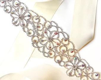 Sash - Wide Aurora Borealis (AB) Crystal Wedding Dress Sash - Rhinestone Encrusted Bridal Belt Sash - Crystal Extra Wide Long Wedding Belt