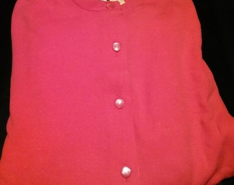 Deadstock 1950s 50s ladies red cardigan sweater Plus Size XL NOS
