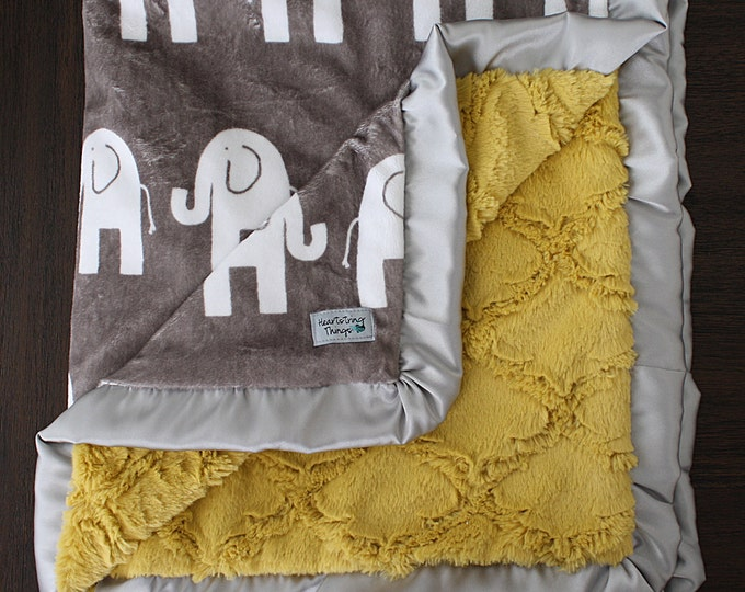 Minky Blanket, Elephant Blanket, Animal blanket, baby boy blanket, Mustard and Grey, Yellow and grey, Lattice blanket, plush blanket, ruffle