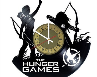 The Hunger Games vinyl clock Jennifer Lawrence gift for men women kids birthday home decor - unique design that made out of vinyl LP record