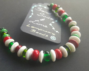 36 Christmas Mix Lampwork Spacer Beads SRA