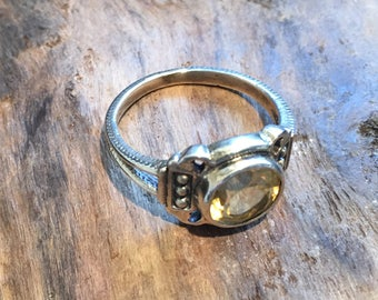 Vintage Citrine Ring...Sterling Silver Ring...Handcrafted...1980s...Gypsy...Hippie...Gift...Vintage Shop
