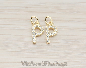 PDT150-P-G // Glossy Gold Plated Cubic Zirconia Setting Initial Pendant, 1Pc