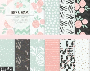 Floral digital paper pack in pink and mint. Wedding flowers scrapbooking digital papers for invitation, card. Hand drawn roses and vines.